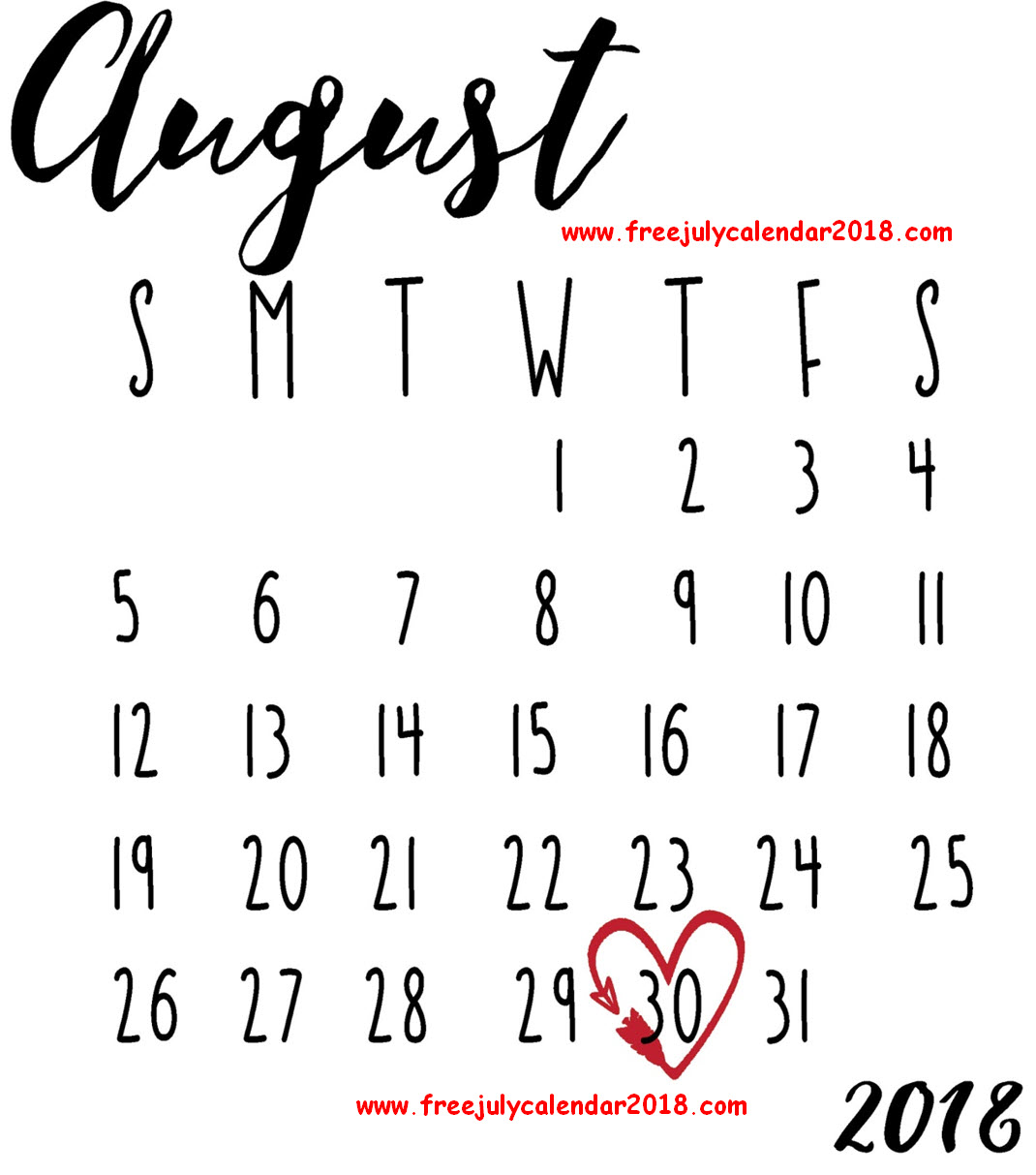 Decorative August 2018 Calendar