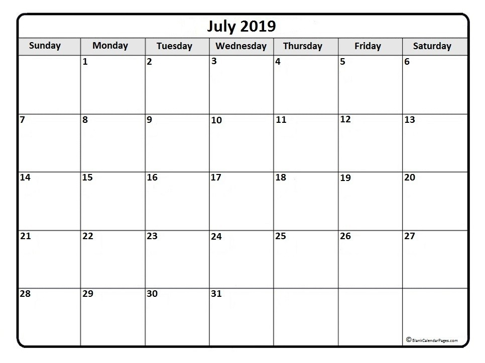 Editable July Calendar 2019