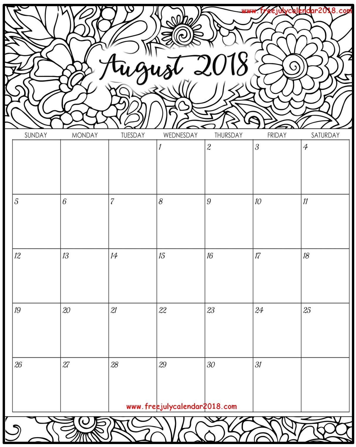 floral august 2018 calendar