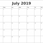July Calendar 2019 Printable, Editable, A4, Landscape, Portrait, Notes
