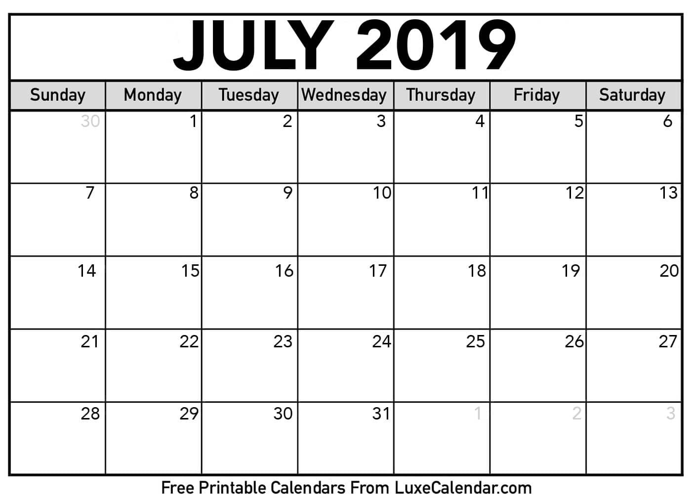 Free July Calendar 2019 Printable