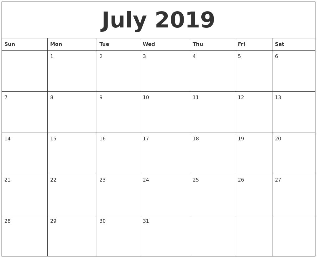 Free July Calendar 2019