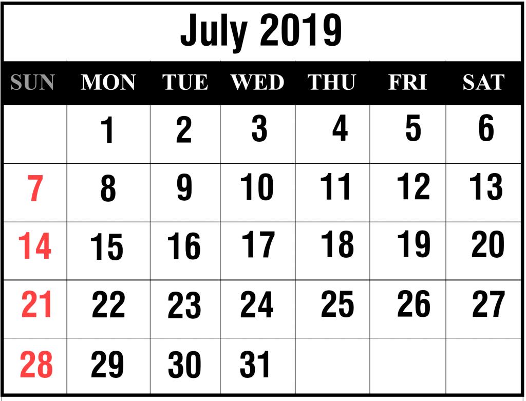 July 2019 Blank Template