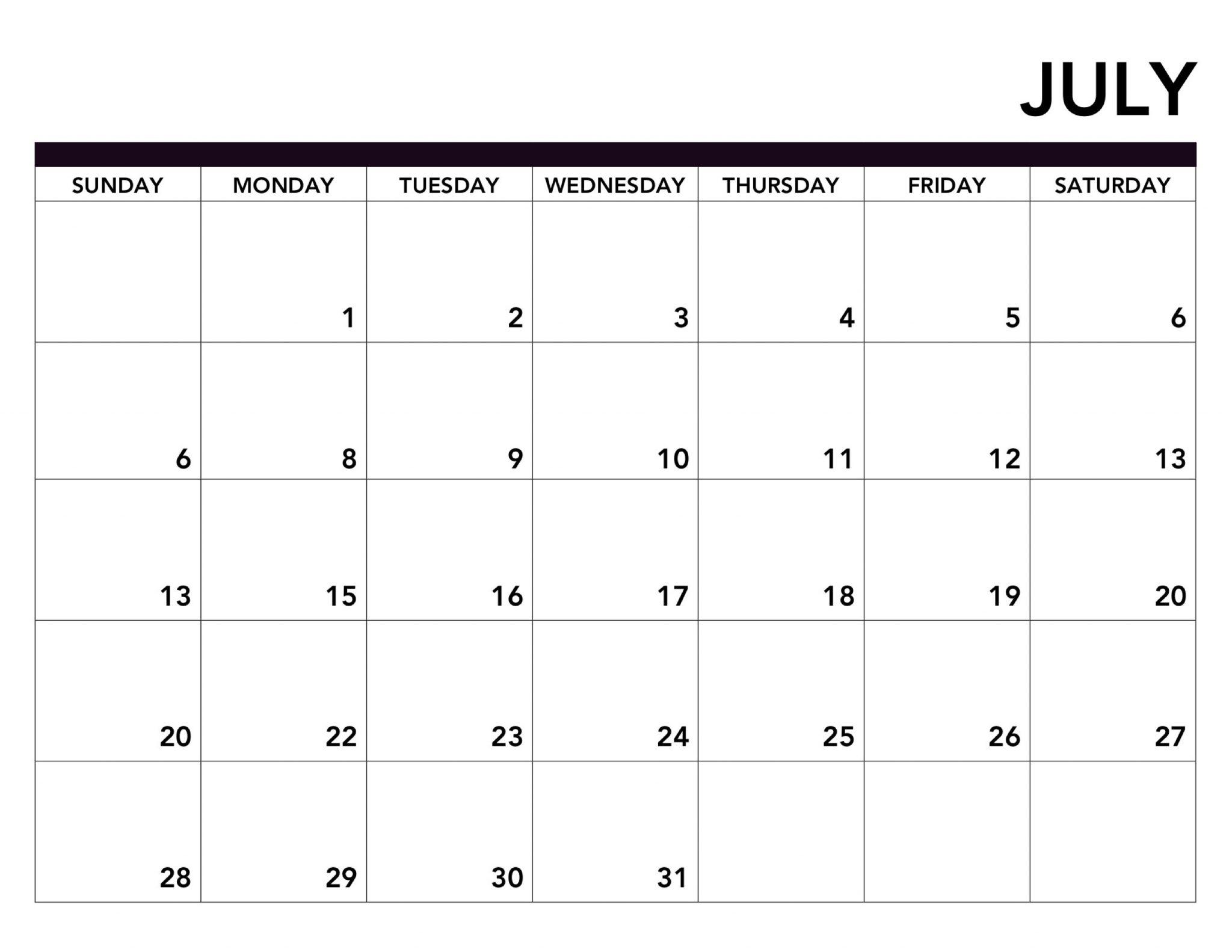 July 2019 Printable Calendar Page