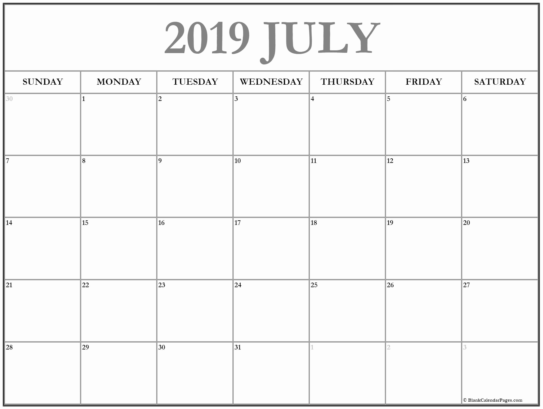 July 2019 Printable Calendar Template