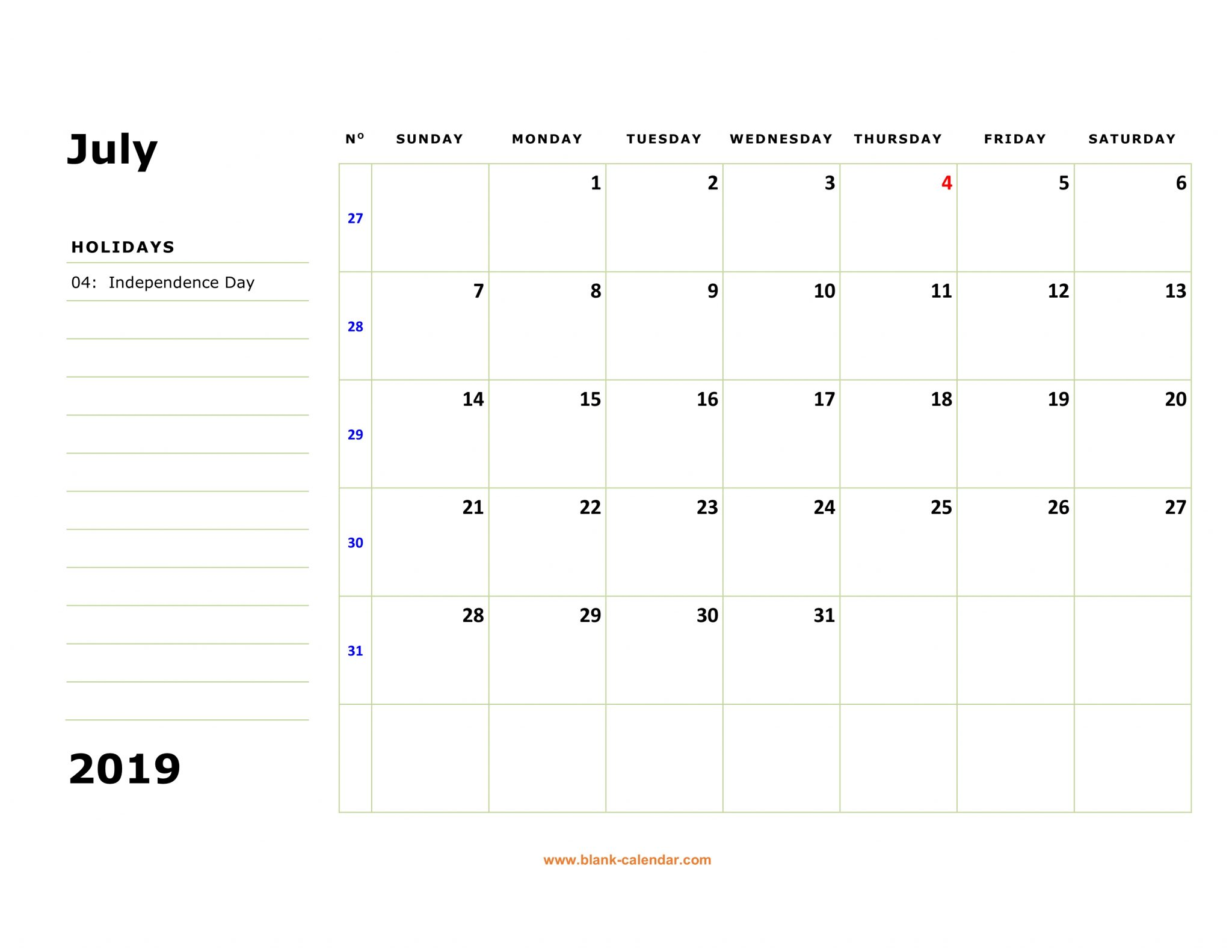 July Calendar 2019 Editable