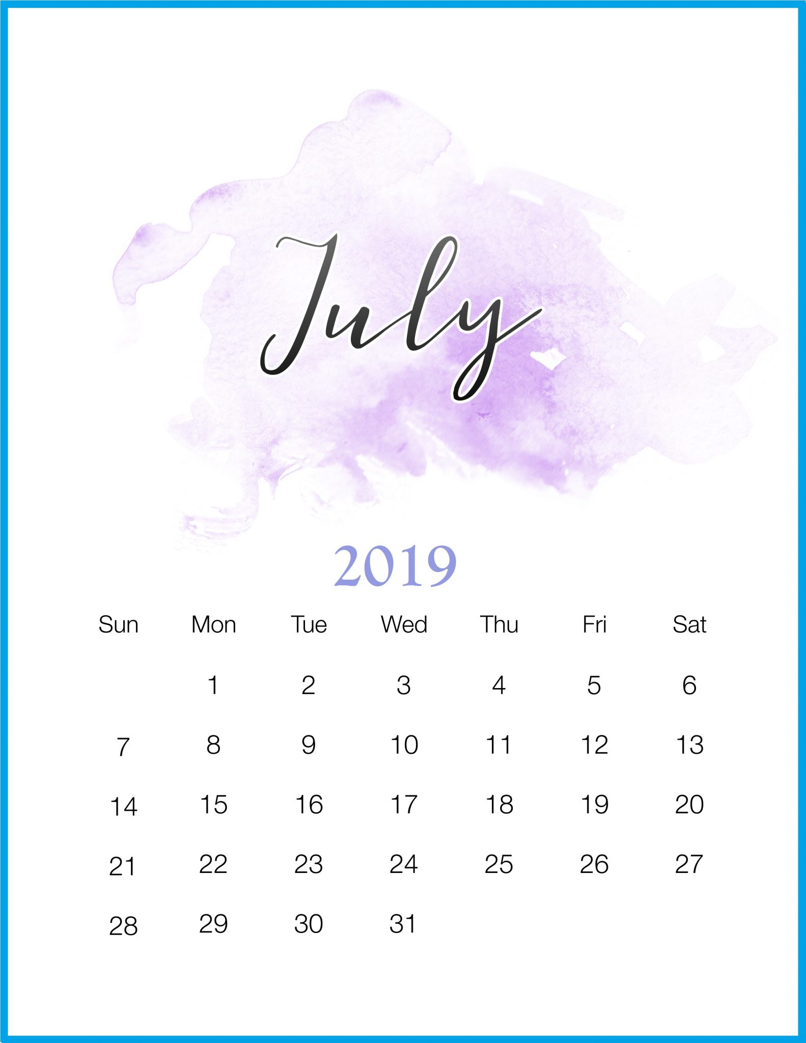 July Calendar 2019 Portrait