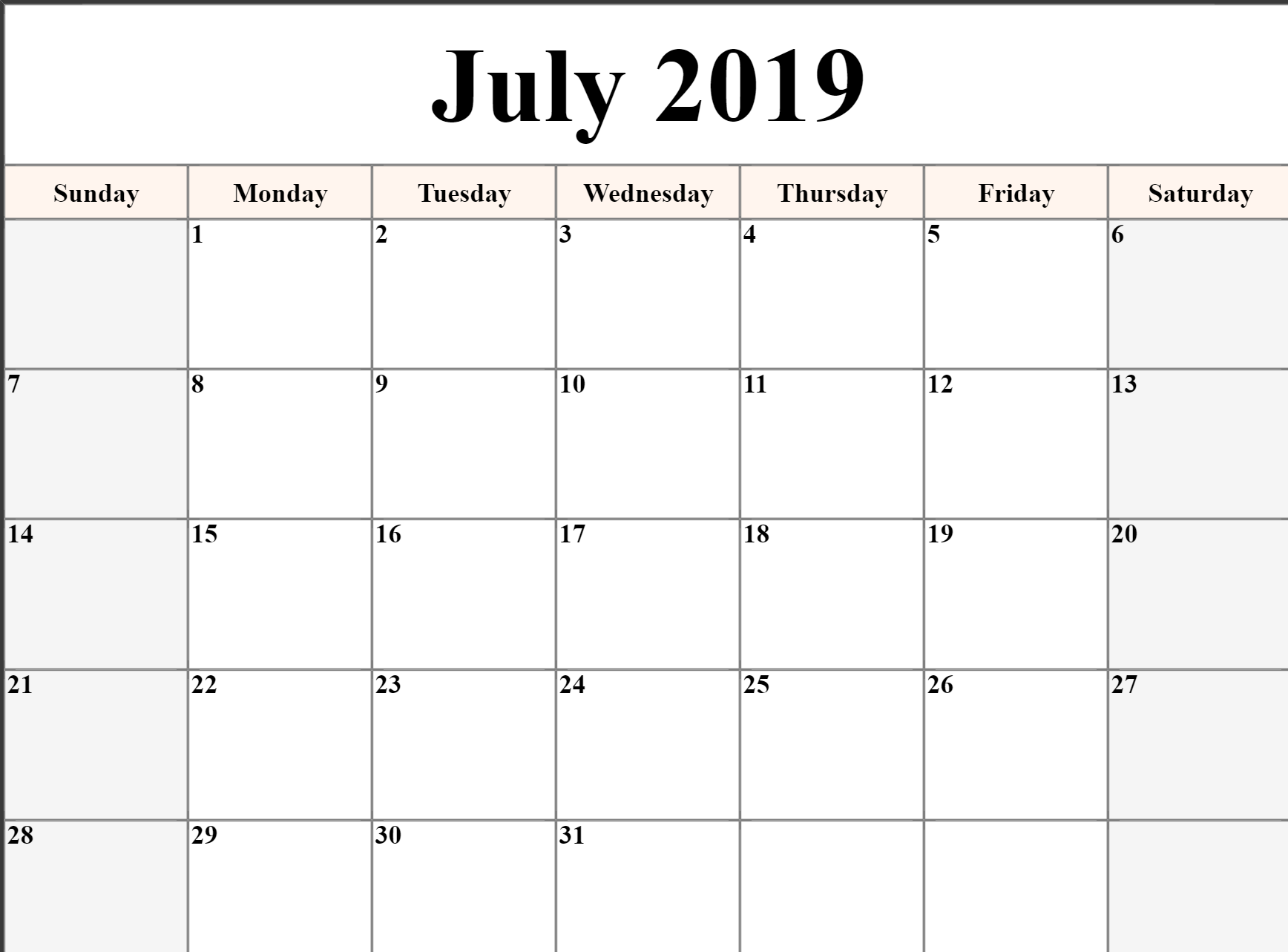 photo about Calendars Printable called 👉 July Calendar 2019 Printable, Editable, A4, Landscape