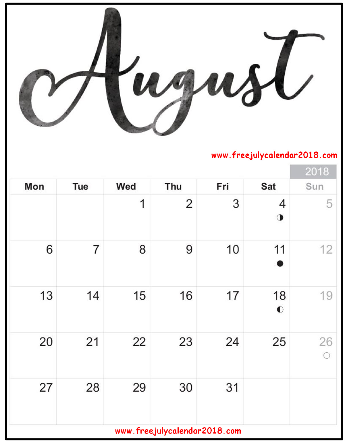 Printable August 2018 Calendar Decorative Templates For Kids