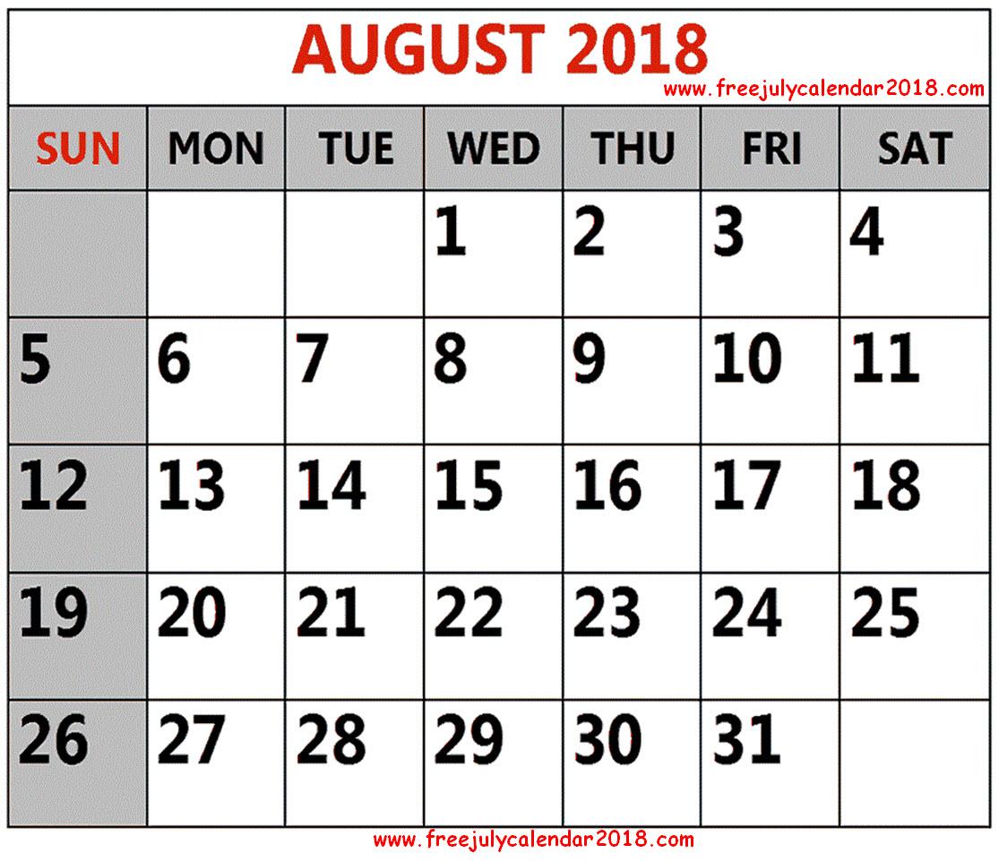Printable August 2018 Calendar Template