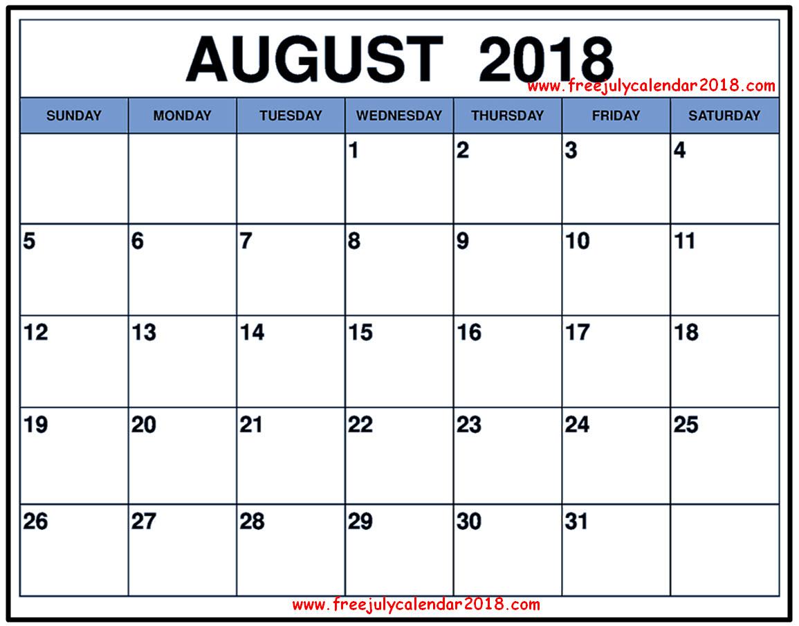 Printable Calendar for August PDF
