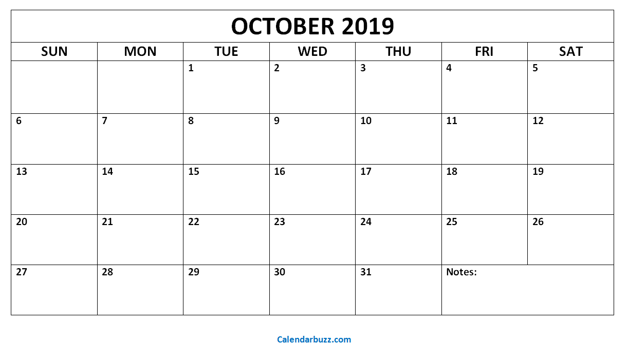 graphic relating to Printable Oct Calendar named Cost-free Printable Oct 2019 Calendar Templates Blank PDF