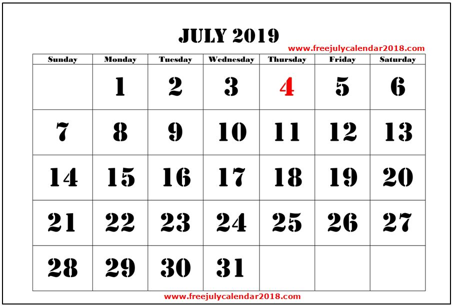 ✅ {60+} Free July 2019 Calendar Printable Blank Templates