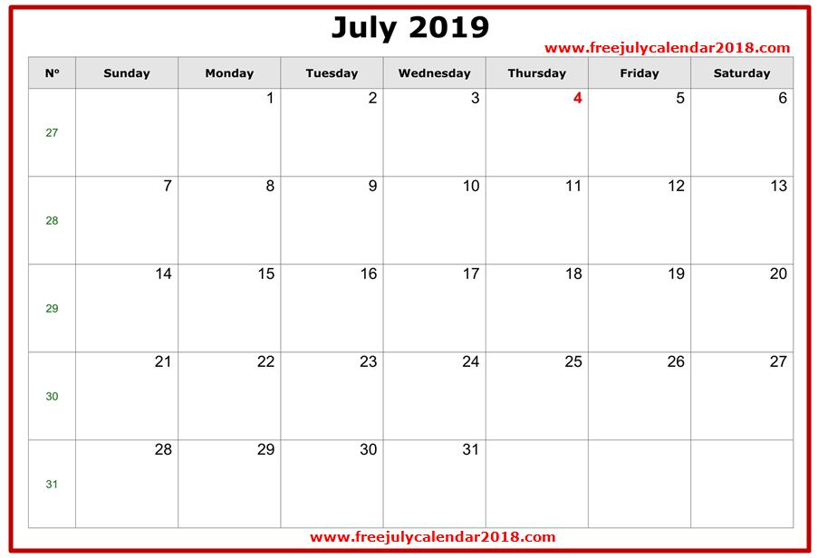 2019 July Calendar Excel Templates