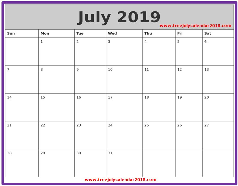 2019 July Calendar Template