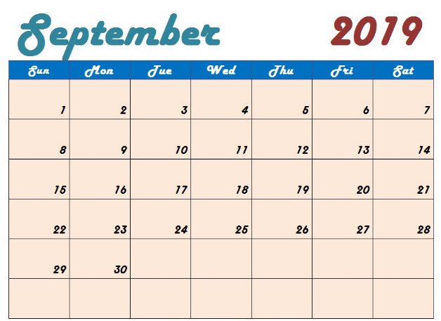 photograph about September Printable Calendar titled Totally free September 2019 Calendar Printable Blank Templates PDF Web page