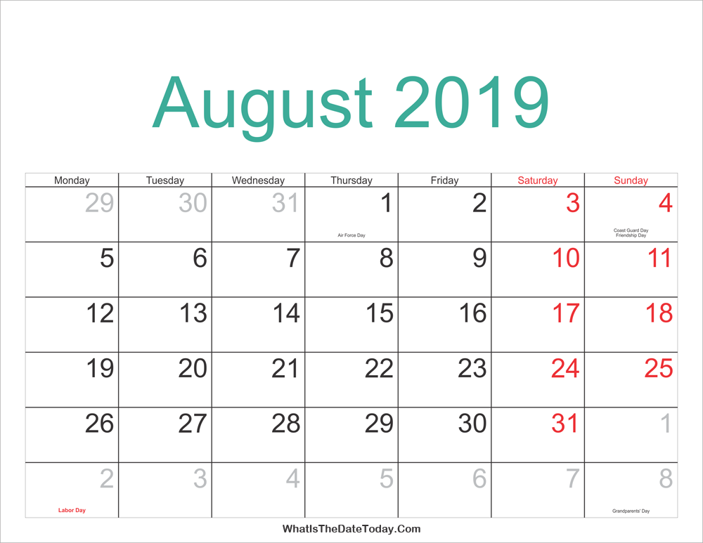 August 2019 Calendar India, Tamil, Telugu