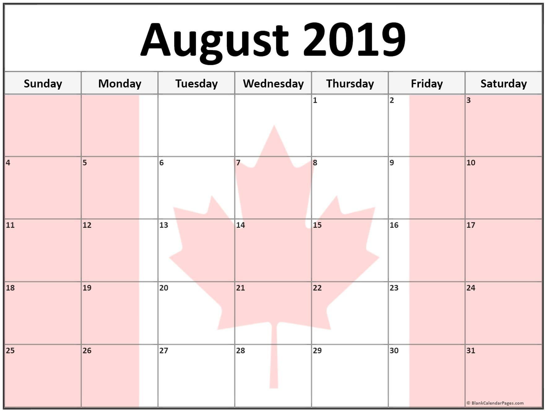 August 2019 Calendar With Holidays Canada