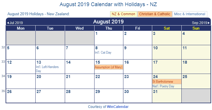 August 2019 Calendar With Holidays NZ