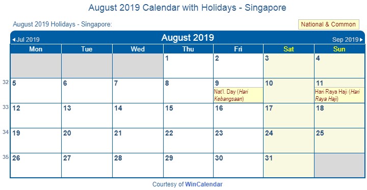 August 2019 Calendar With Holidays Singapore