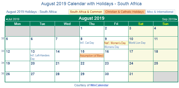 August 2019 Calendar with Holidays South Africa