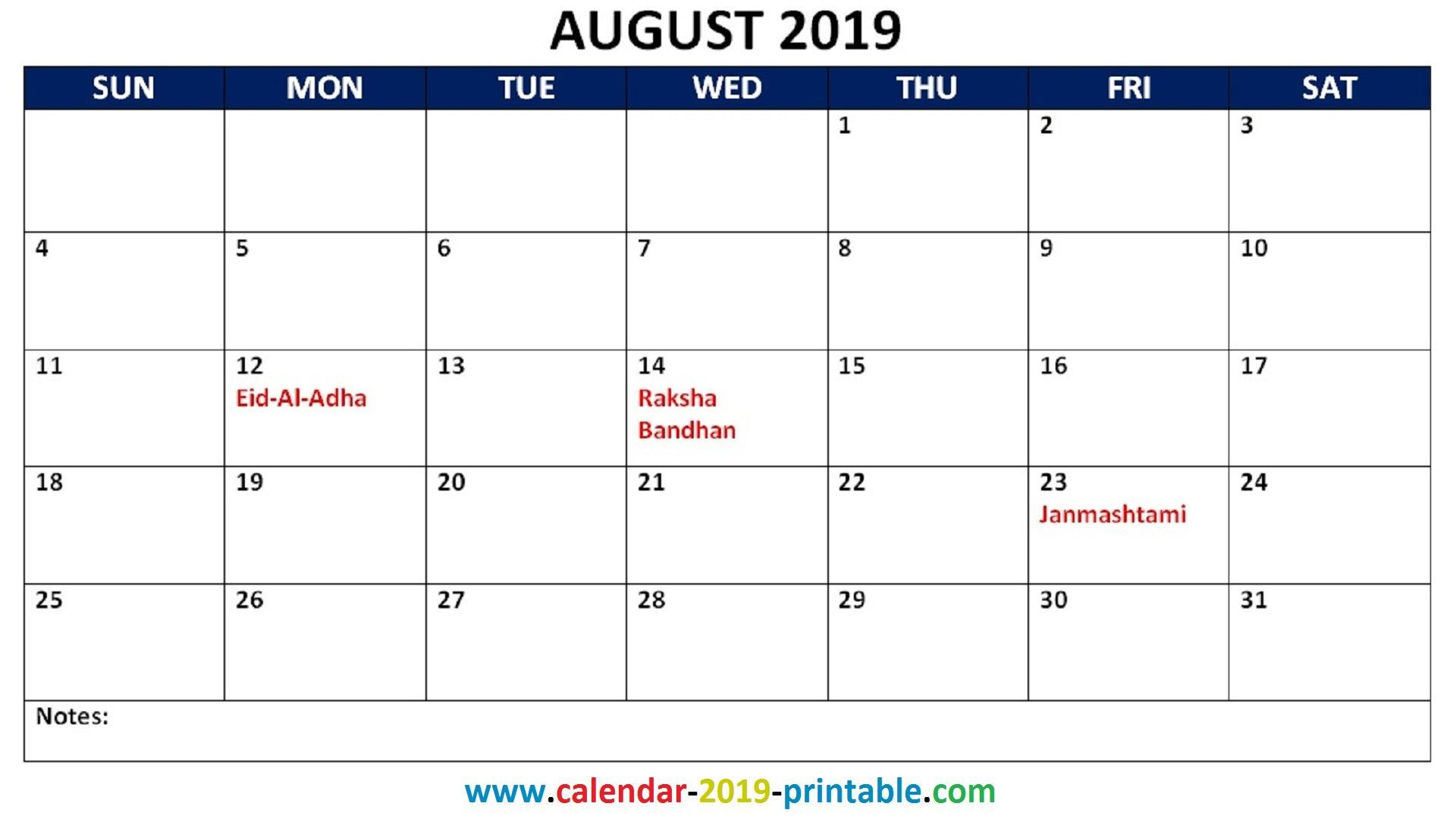 Free Printable 2019 Calendar With Uk Holidays.August 2019 Calendar With Holidays Printable Usa Uk Canada India Nz