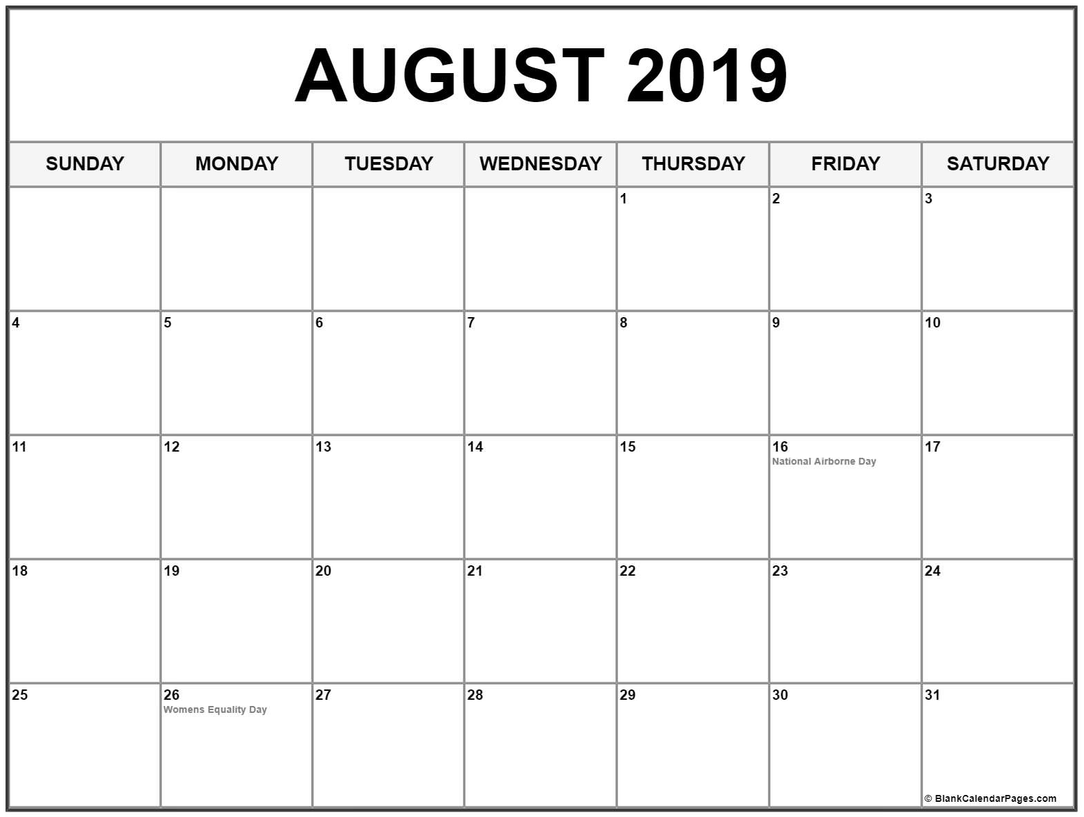 photo about Calendar for Printable identified as ✅ Blank August 2019 Calendar Printable Cost-free Down load