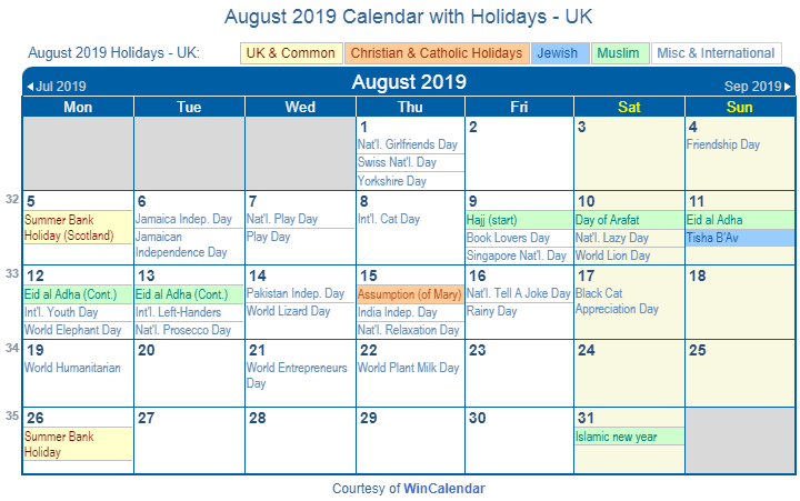 August 2019 UK Holidays Calendar