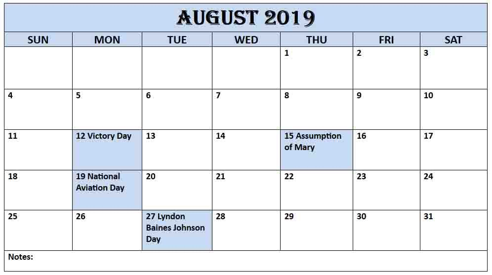 August 2019 USA Holidays Calendar