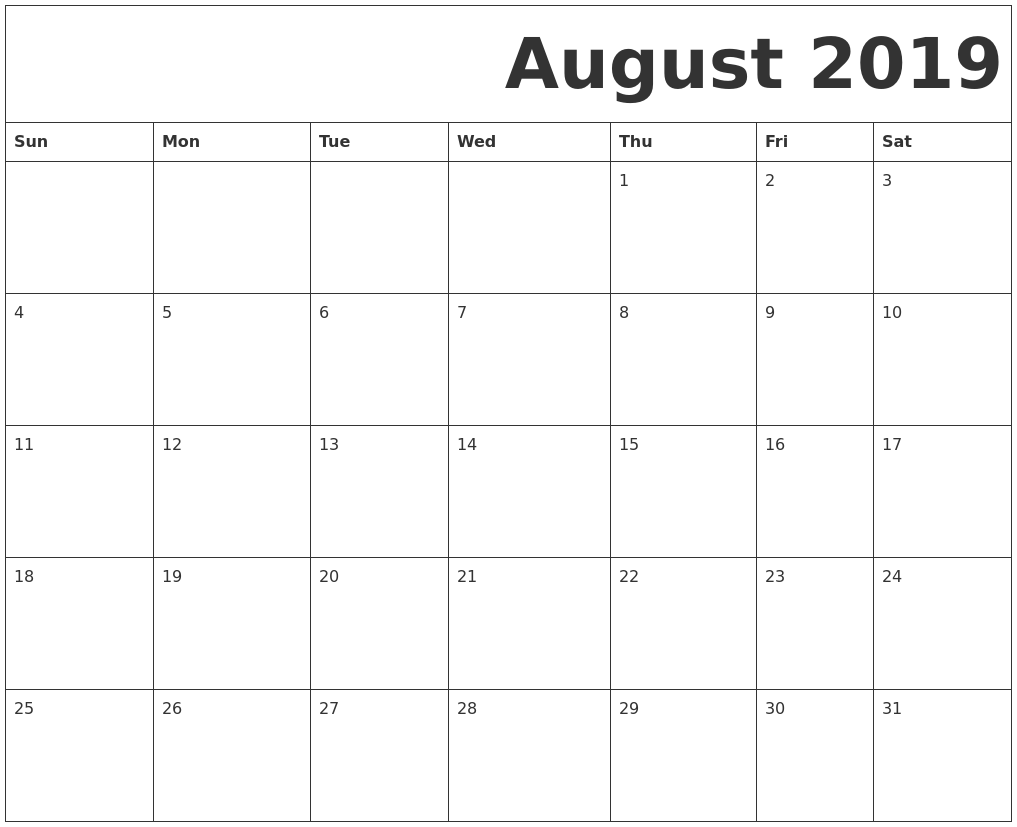 graphic relating to Printable August Calendar Pdf called ✅ Blank August 2019 Calendar Printable Cost-free Obtain