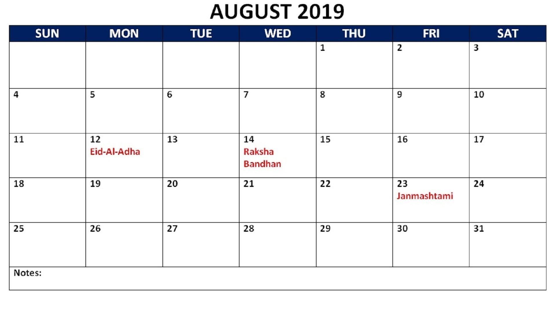 👉 August 2019 Calendar with Holidays Printable USA UK Canada India NZ