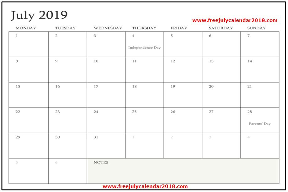 Blank July 2019 Calendar Template Design