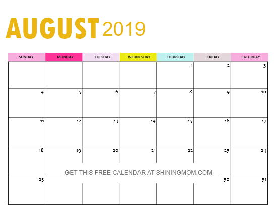 image relating to Free Printable Calendar August called ✅ Blank August 2019 Calendar Printable No cost Down load