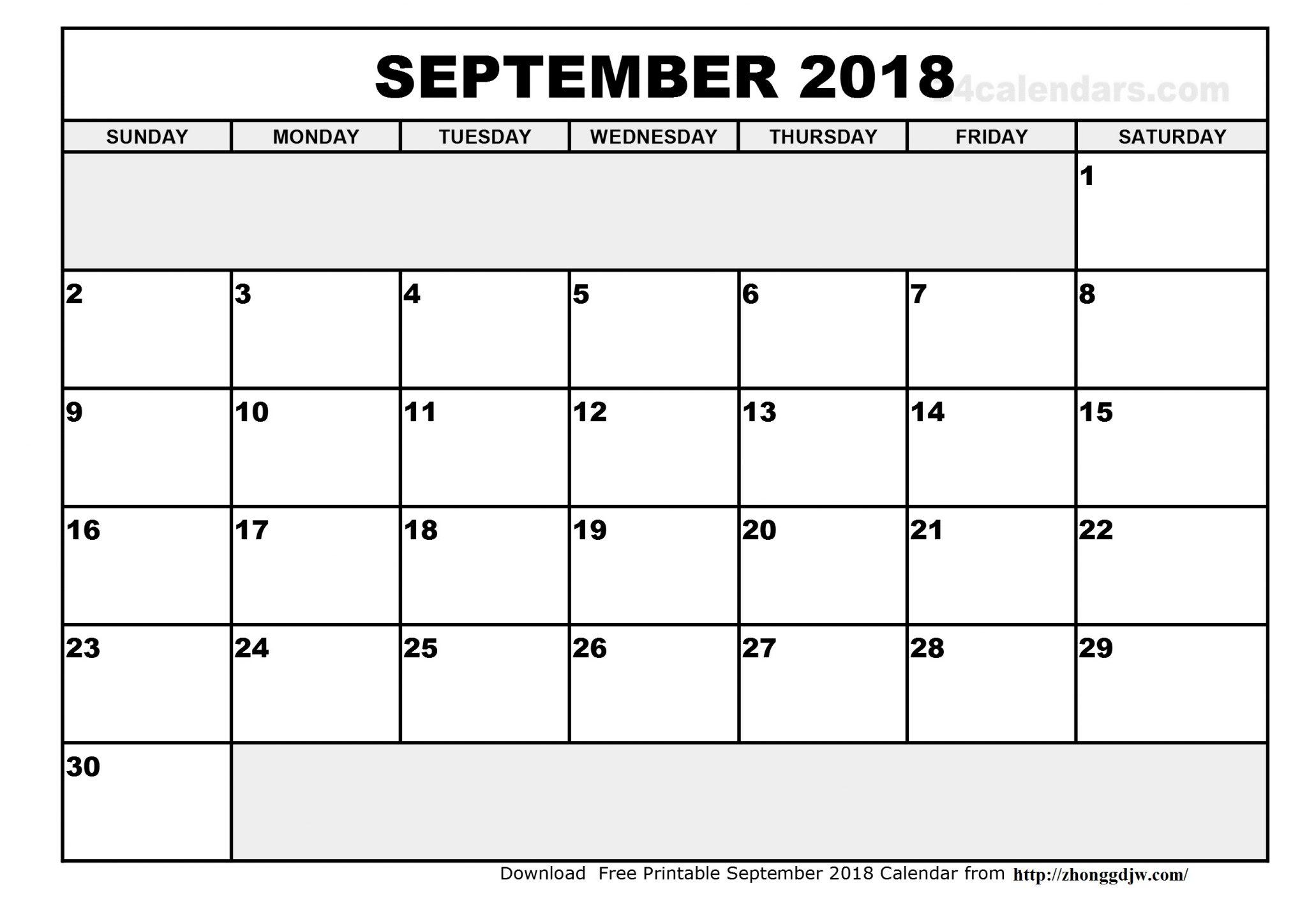 Blank September 2018 Calendar