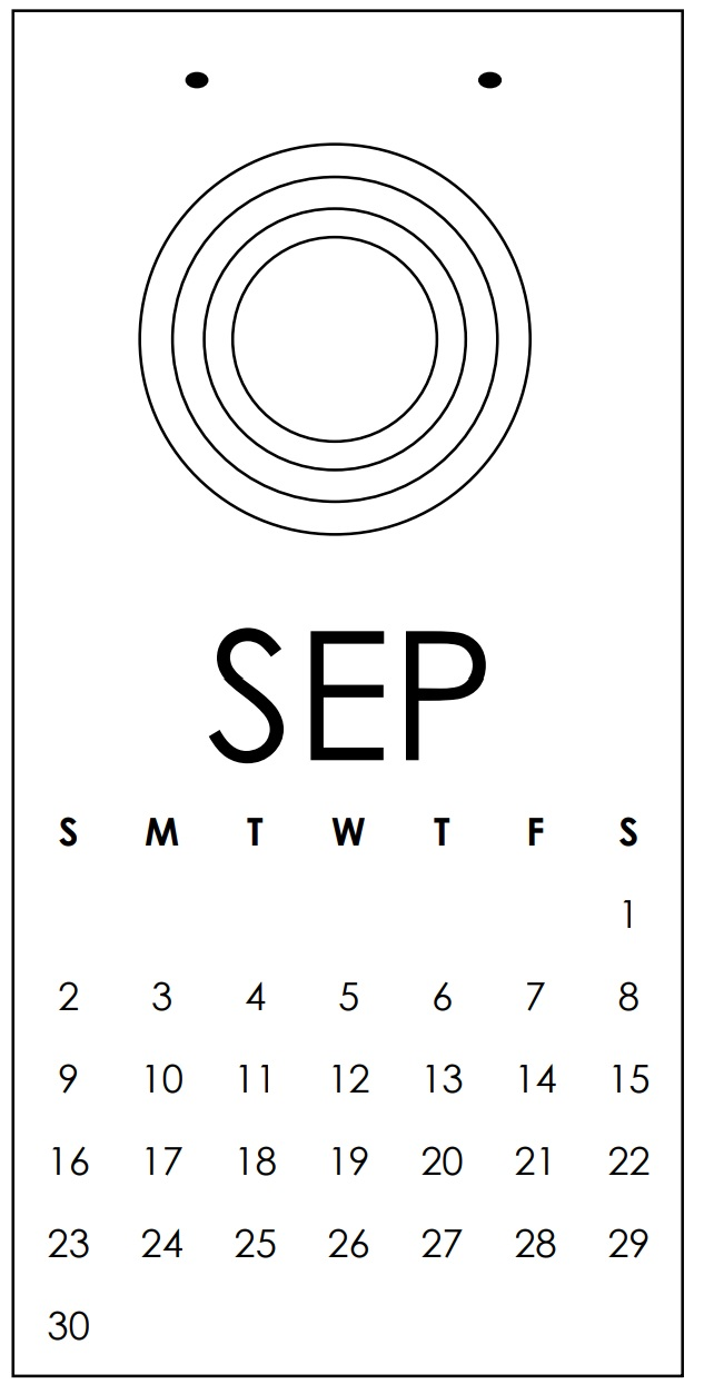 Blank and White September Calendar 2018 Template