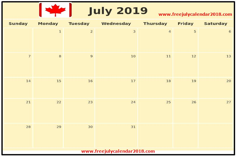 Calendar July 2019 Canada