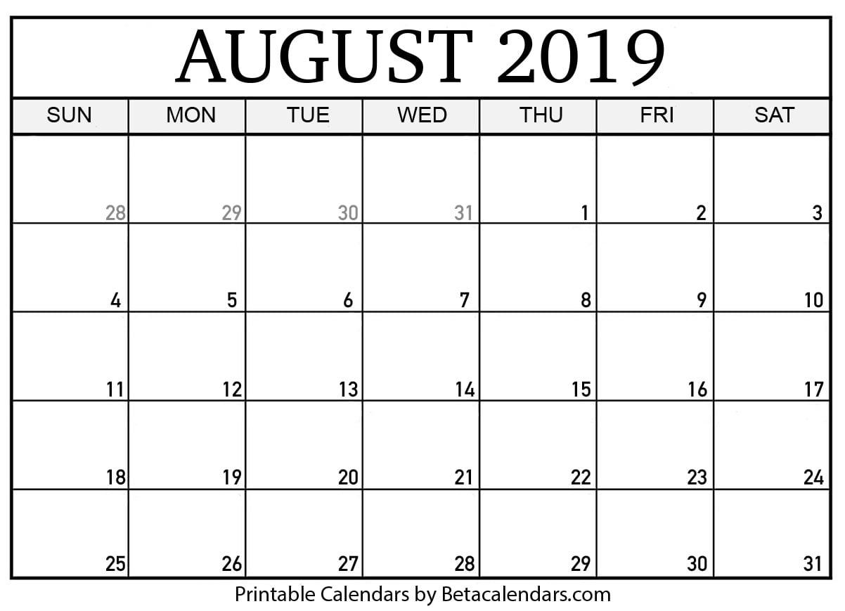 picture regarding Printable Calendar Aug named ✅ Blank August 2019 Calendar Printable Absolutely free Obtain