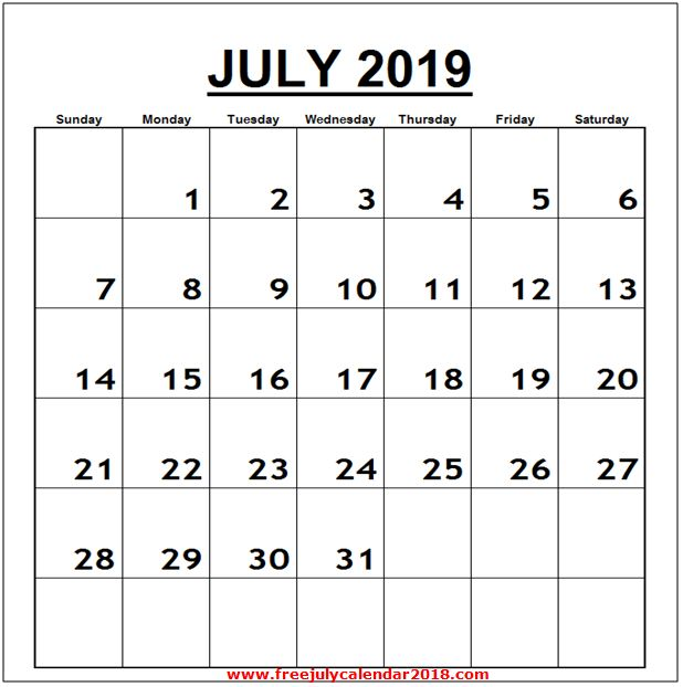 Calendar for July 2019 Word Vertical