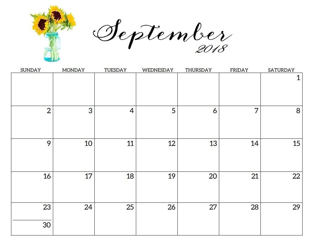 Cute September 2018 Calendar