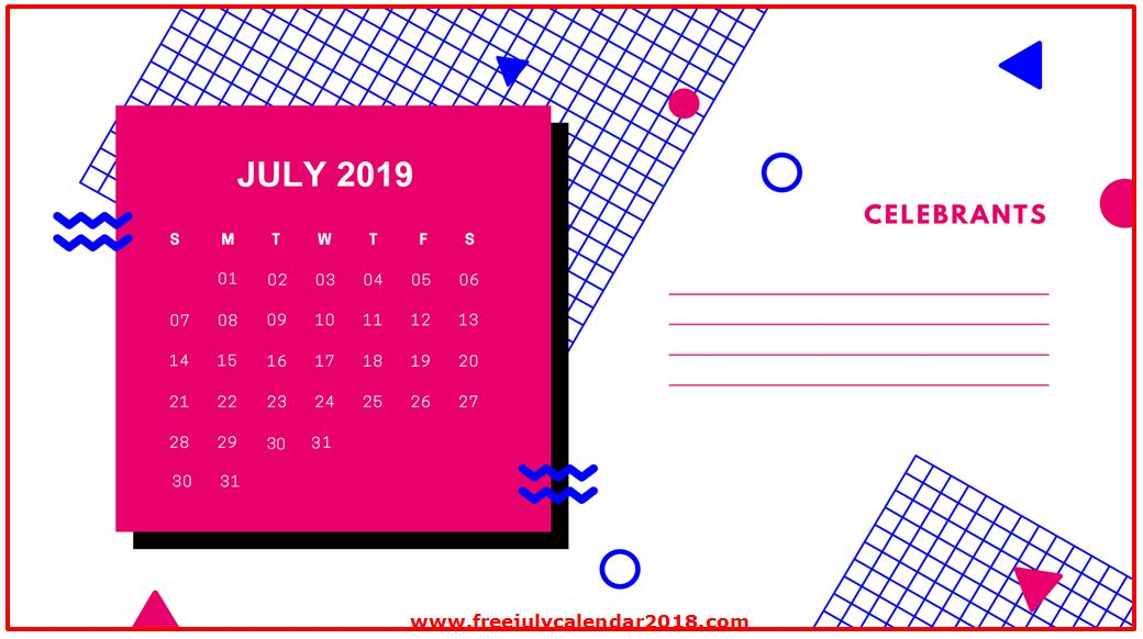 Decorative July 2019 Calendar