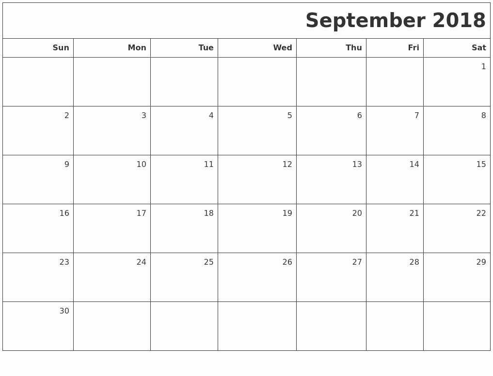 September 2018 Printable Calendar september 2018 printable blank calendar