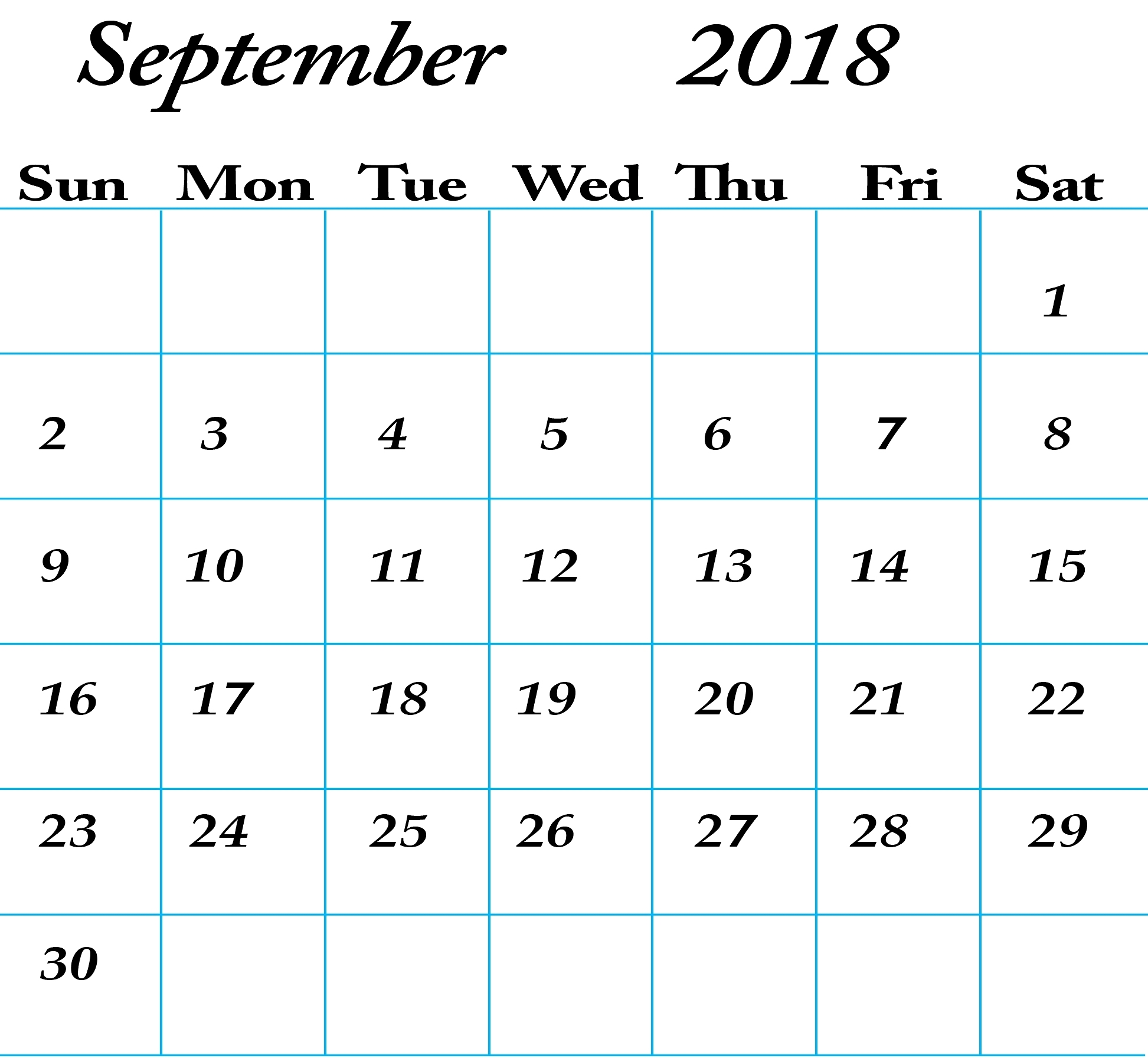 Free Printable Calendar September 2018 Word