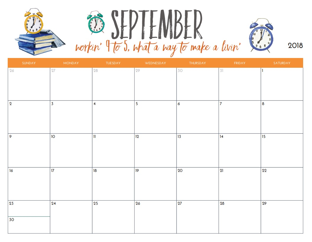 Free Printable September 2018 Monthly Calendar
