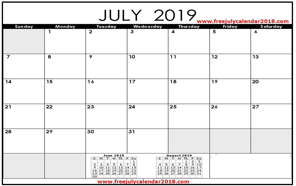 June July August 2019 Calendar Printable.Free July 2019 Calendar Printable Blank Templates Holidays