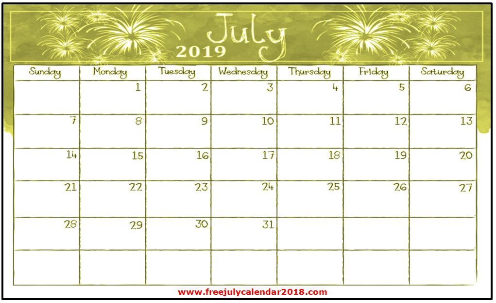 60   free july 2019 calendar printable blank templates