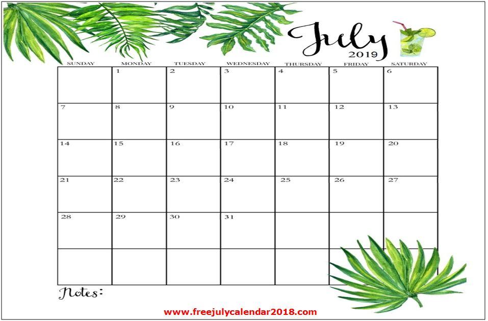 July 2019 Calendar Design