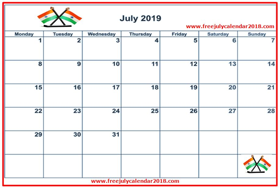 july 2019 calendar india tamil telugu