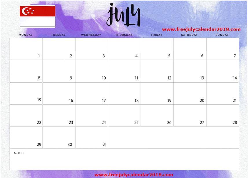 July 2019 Calendar Singapore