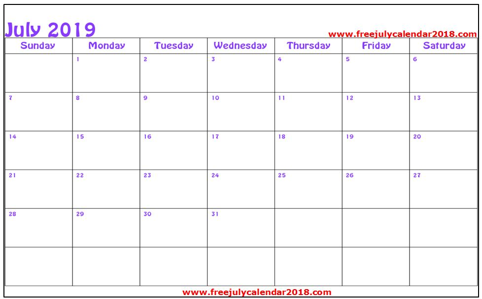 July 2019 Calendar Word Document