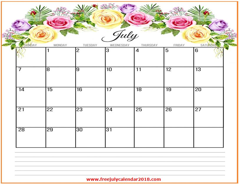 Free July 2019 Calendar Printable Blank Templates